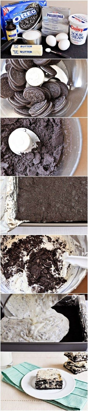 Cookies and Cream Cheesecake Bars-- Pretty sure my husband would be ...