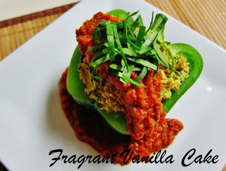 Raw Polenta Stuffed Bell Peppers from Fragrant Vanilla Cake