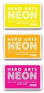 *Hero Arts Dye Ink Pad SET of 3 NEON Pink Orange Yellow