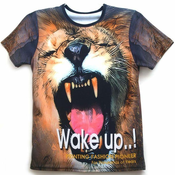 All over full printing handmade custom men 39 s graphic lion for Custom full color t shirt printing