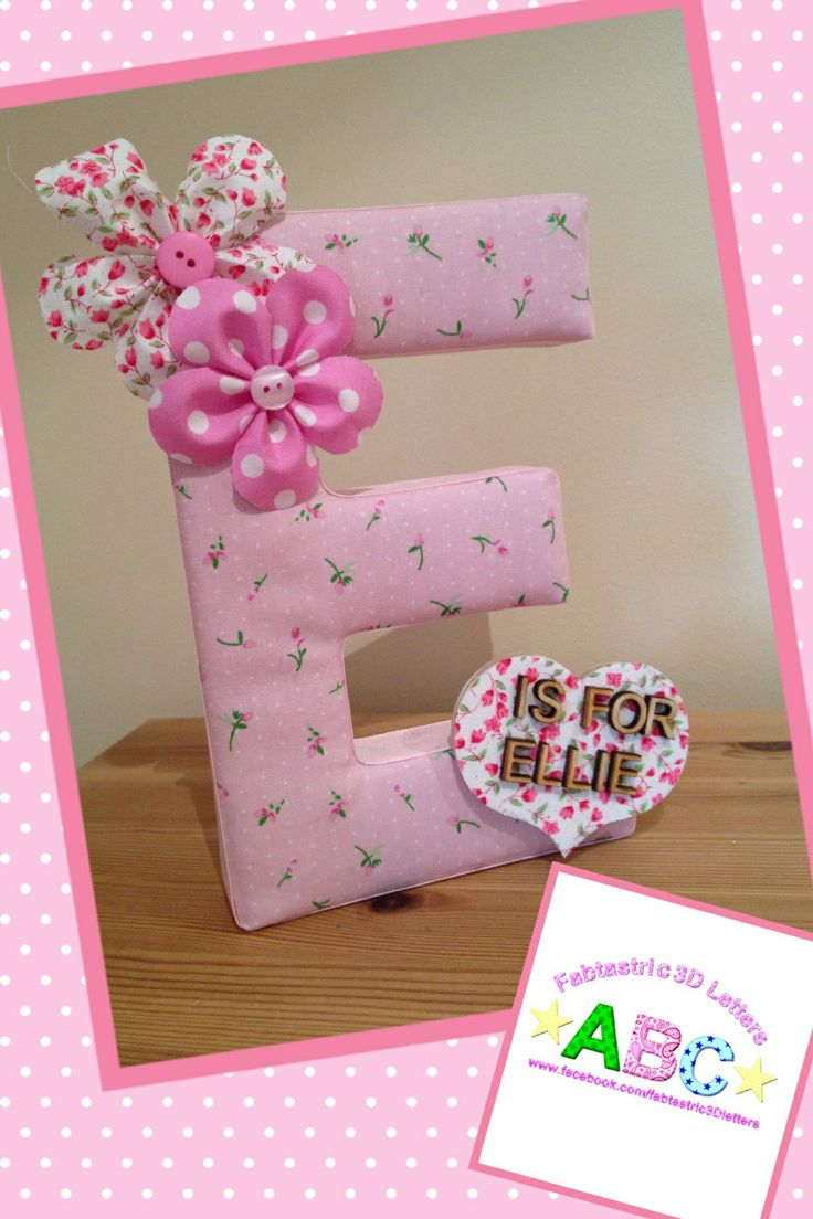pink fabric covered wall letters