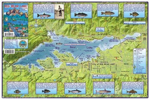 Big bear lake fishing boating recreation waterways map for Best fishing spots in california