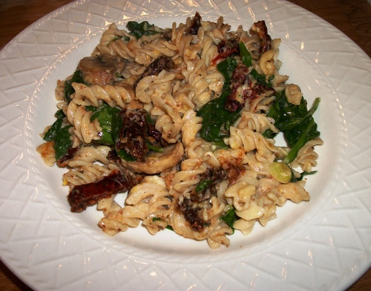 ... meal - Pasta With Mascarpone, Mushrooms, Sun-Dried Tomatoes & Spinach