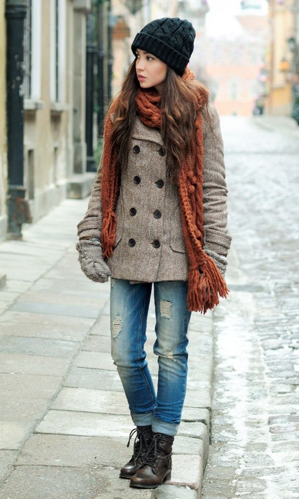 heavy coat,scarf,jeans and mid calf boots