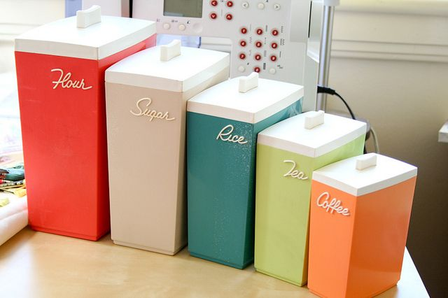 rainbow of retro kitchen canisters