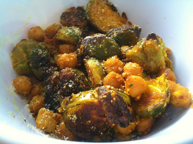 Lemony Turmeric-Roasted Brussels Sprouts with Chickpeas | Noms ...