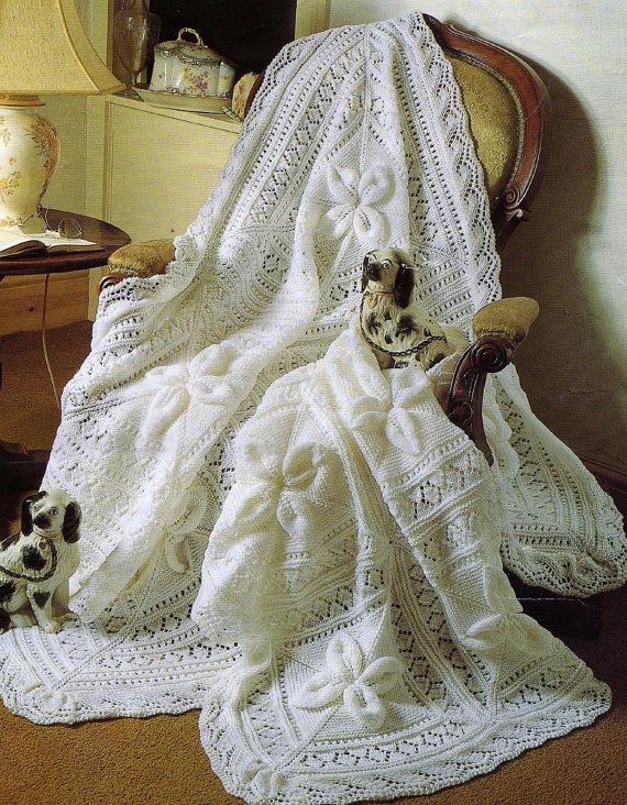 Free Knitting Patterns For Baby Christening Blankets : Baby Heirloom Shawl or Blanket Vintage Knitting Pattern ...
