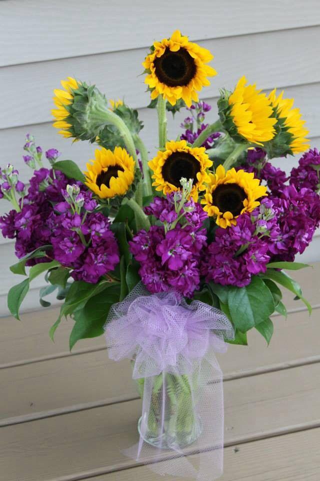 Sunflower floral vase arrangement fresh flowers pinterest