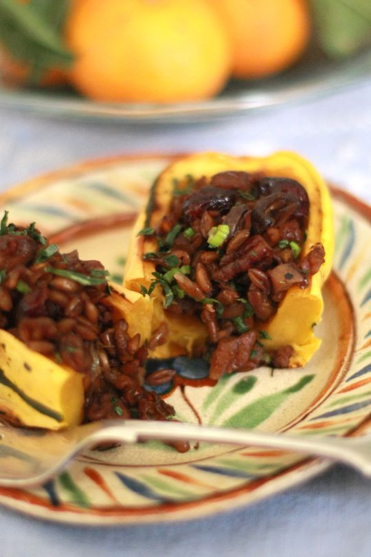 ... Squash Stuffed with Mushrooms, Farro, Pecans & Dried Cranberries