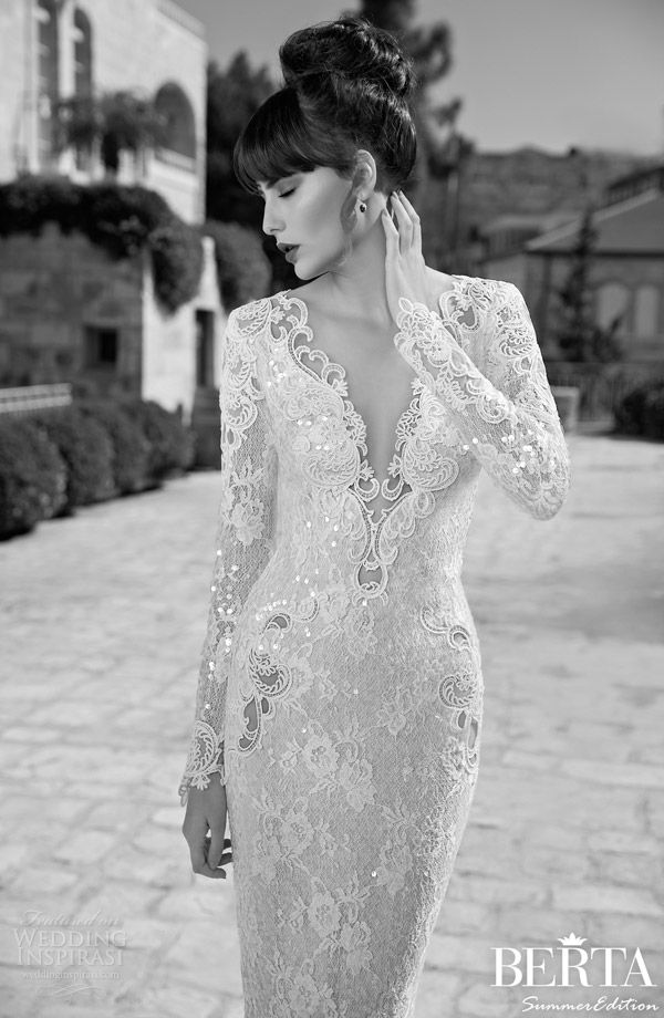 berta bridal summer edition 2014 long sleeve wedding dress close up