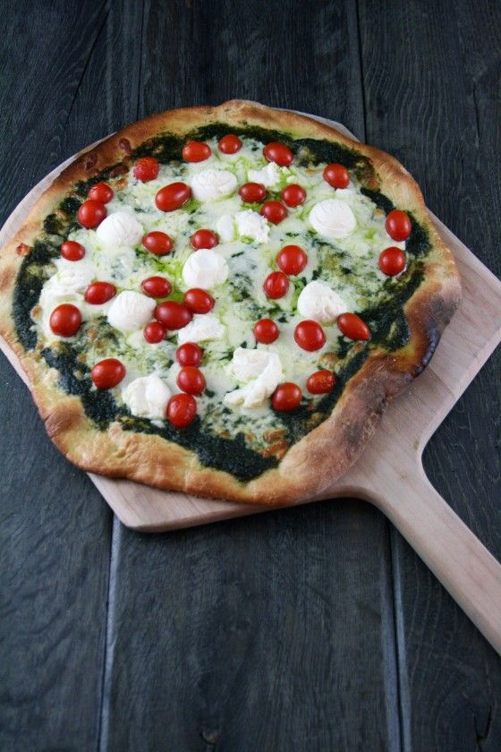 Pesto, Ricotta and Tomato Pizza. Think I'll use a Roma Tomato Instead