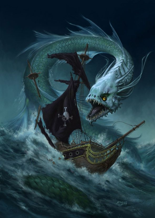 Mythical Sea Dragon Tattoos