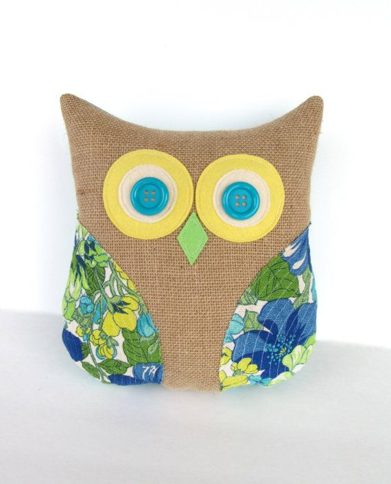 Decorative Pillows With Owls : Decorative owl pillow, burlap pillow, vintage up cycled, turquoise, a?