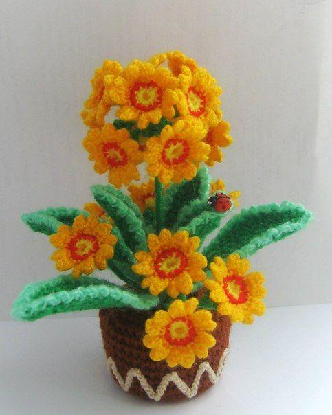 Вязание примулы цветка