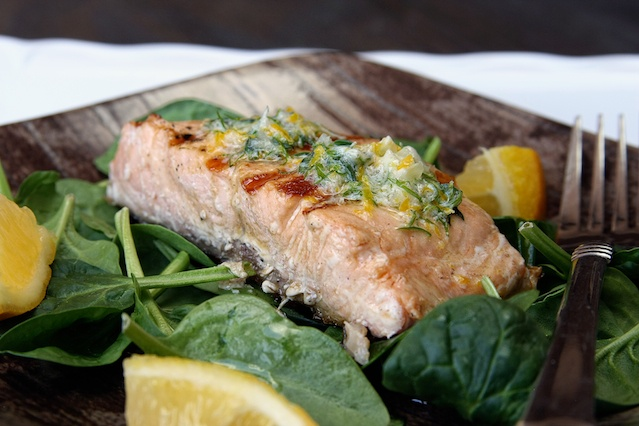 grilled salmon with meyer lemon compound butter from live love pasta
