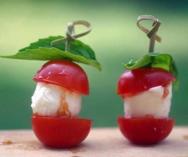 Tomato and Mozzarella Skewers, a recipe by Iron Chef Cat Cora.