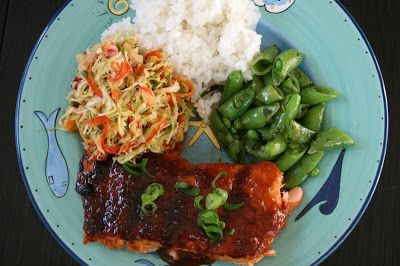 Miso-Sriracha Glazed Salmon with Spicy Slaw