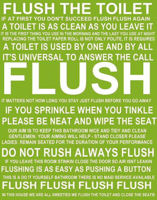 Printable Flush Toilet Signs for the Bathroom