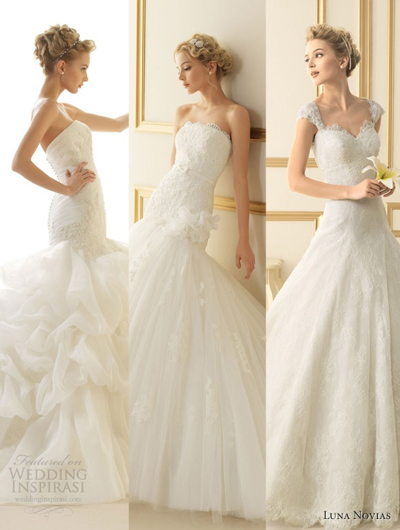 Our top 3 picks from Luna Novias 2013 Wedding Dress Collection.    See the rest featured at  http://weddinginspirasi.com/2012/09/29/luna-novias-2013-wedding-dresses/