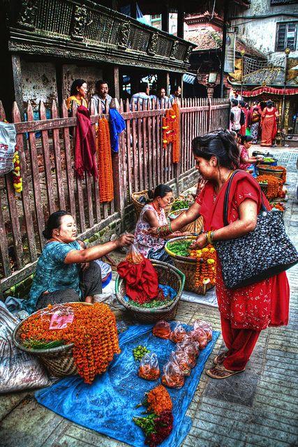 Mercado informal en Kathmandu, Nepal.
