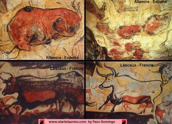 Toros dibujados en pinturas rupestres: Altamira (España) y Lascaux (Francia)