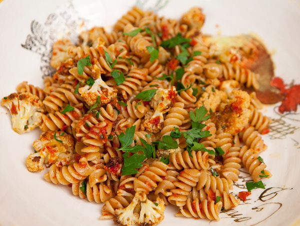 Fussili with Roasted Cauliflower and Sun Dried Tomato Pesto