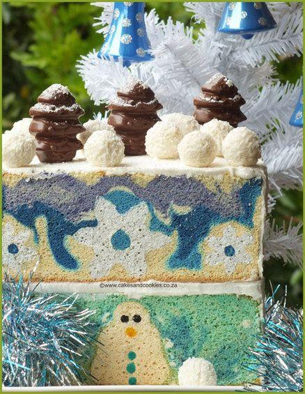 Snowman Inside My Cake!