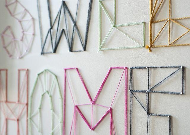 Diy nail and yarn wall art crafty pinterest for Yarn wall art