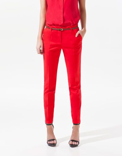 red trousers @zara