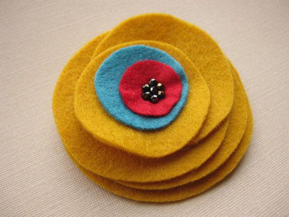 Mustard Yellow Stacked Flower felt brooch by soleilgirl on Etsy, $12 ...
