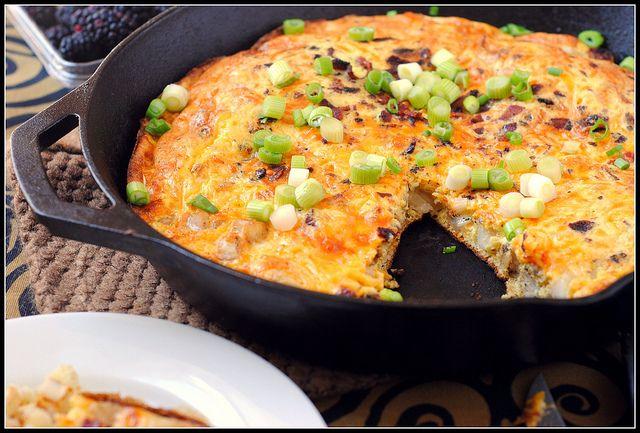 Cheesy Bacon Potato Frittata, 220 calories for 1/6 recipe