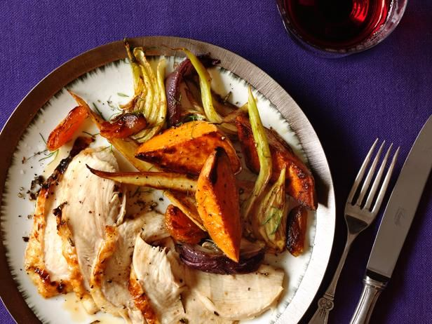 Roast Turkey Breast With Glazed Vegetables from #FNMag