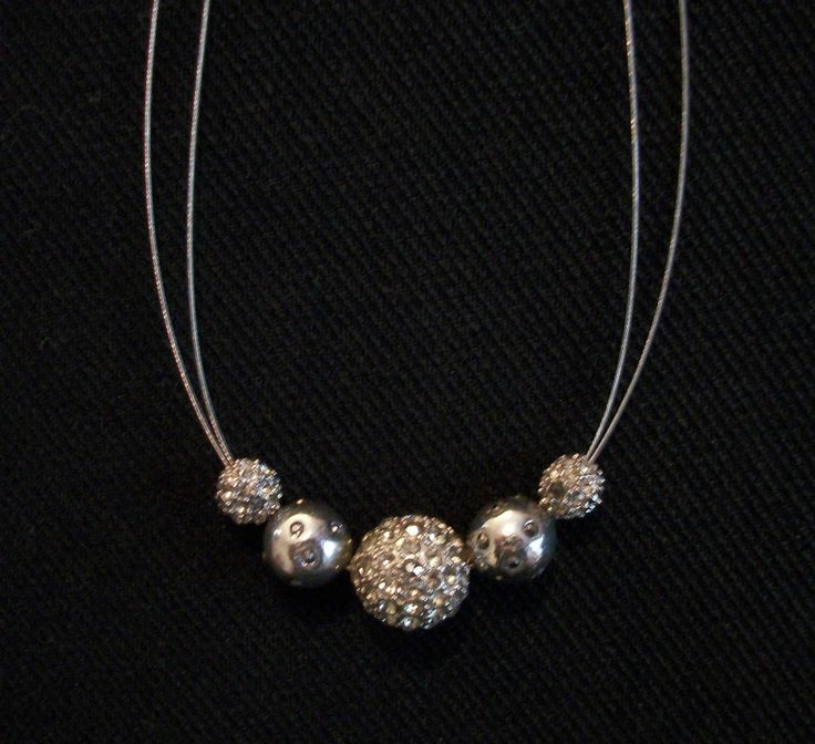 "CHICO'S Silver & Crystal Bead Necklace. Choker Length at 16""- 20"" Excellent Pre-Owned Condition! $22.99 obo (Free S&H)"
