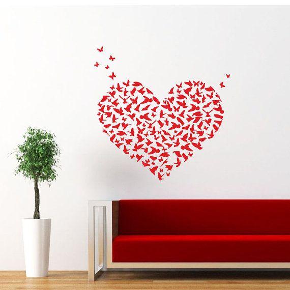 Heart Wall Decal Birds Butterflies Heart Love Decals Wall Vinyl Stick ...