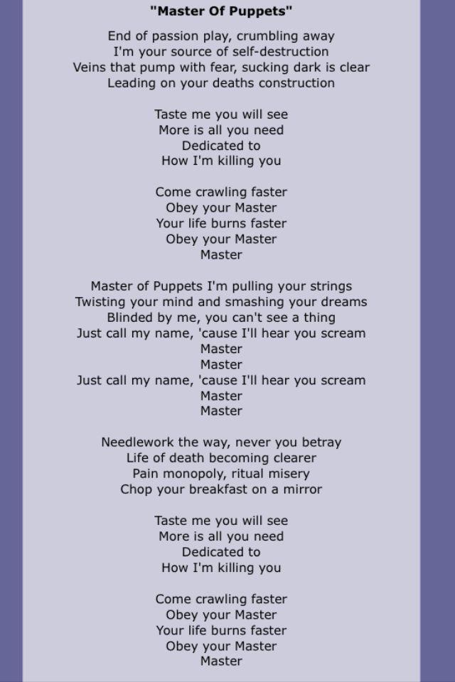 Metallica Master Of Puppets Lyrics Video ...