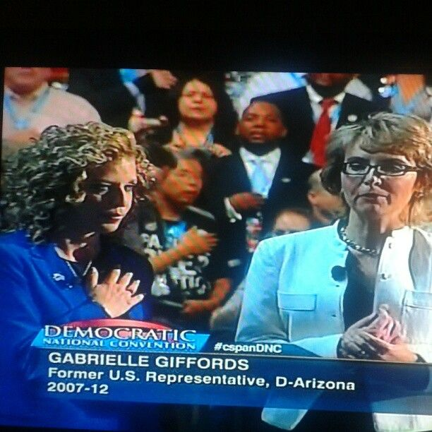 Gabby Giffords and DNC Chairwoman DWS lead the Pledge at the DNC convention. [Via Instagram] #dnc2012