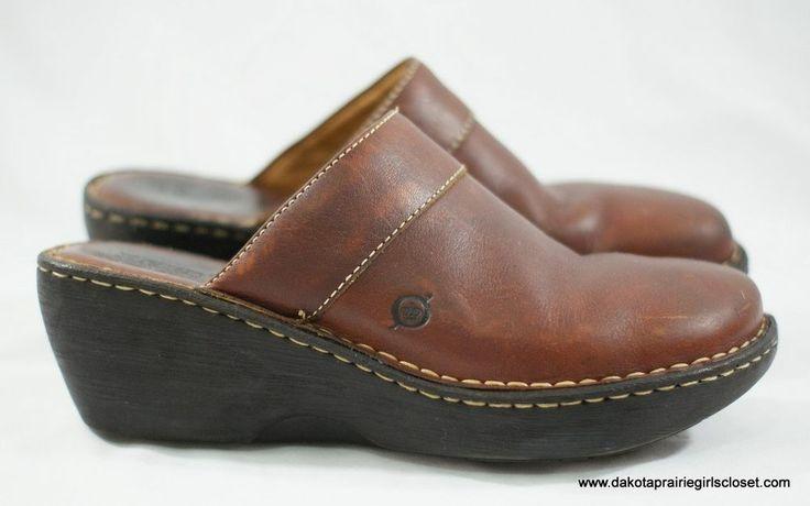 Born Womens Shoes Slides Mules Size 10 US 38.5 EU Brown Leather