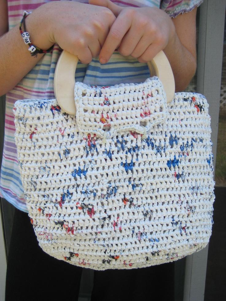 Crocheting Using Plastic Bags : Jenna Stokes. crochet: upcycled plastic grocery bags. White handbag ...