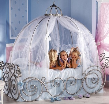 disney princess carriage bed with pink sheer canopy cant