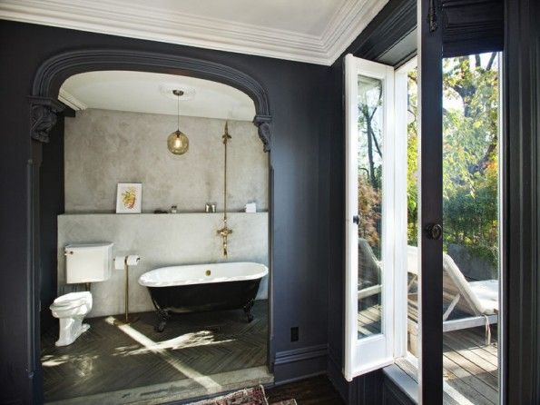 master bath, charcoal greys and brass.