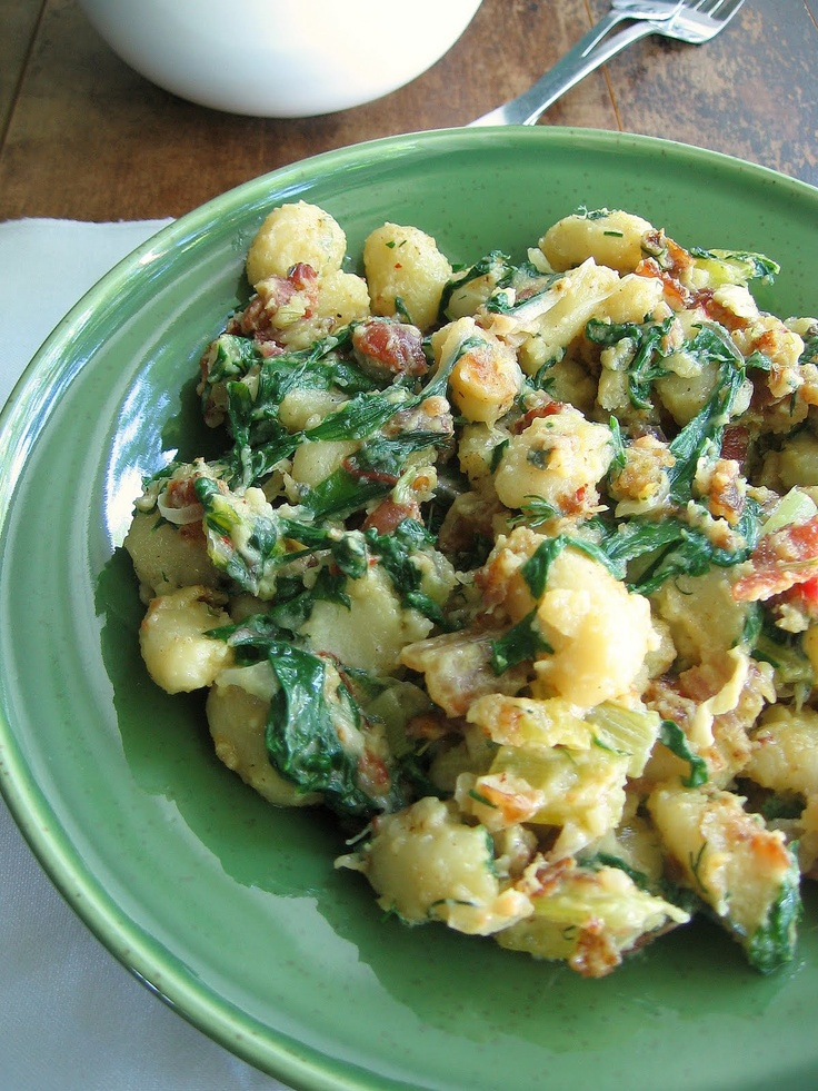 sweetsugarbean: Pan Fried Gnocchi With Bacon and Cambozola