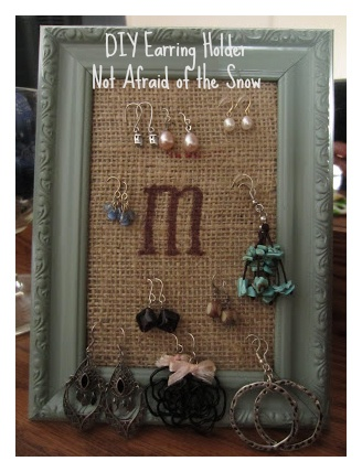 Good way to organize your earrings.   Personalize it by monogram - M!