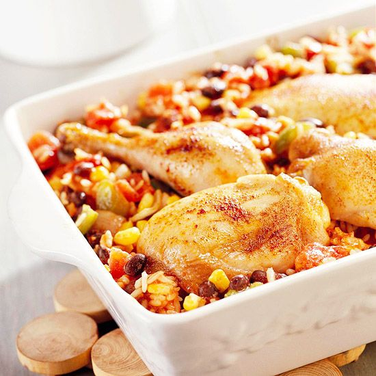 Chili powder and cayenne pepper spice up this chicken, beans, and rice ...