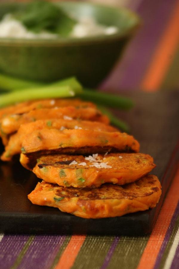 coriander and feta pumpkin fritters