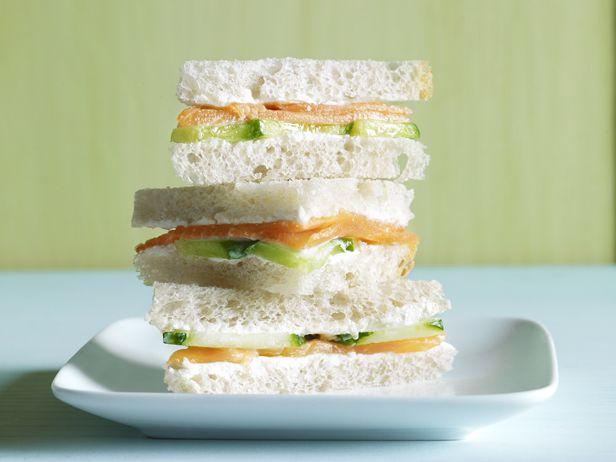 Salmon-Cucumber Tea Sandwich -- Smoked salmon and cream cheese w ...