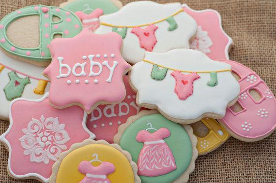 baby shower sugar cookies by sugarbeegoodies on etsy