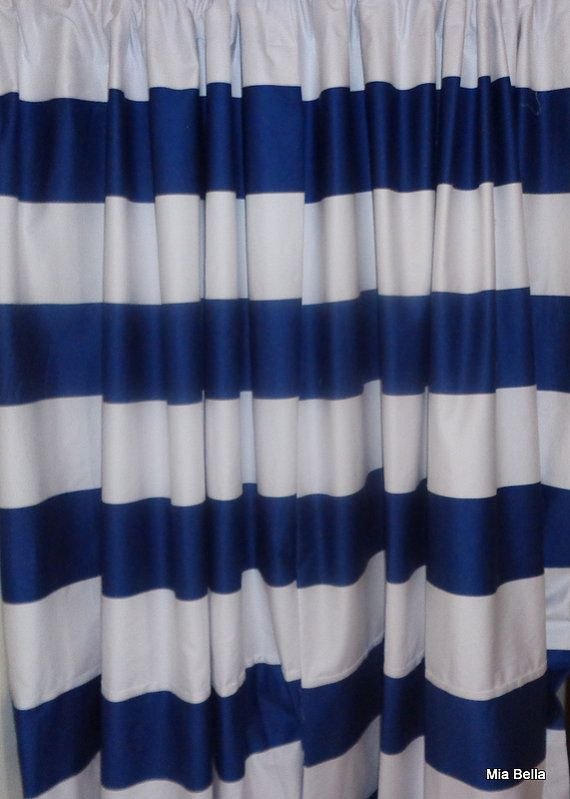 Navy Blue White Wide Horizontal Stripe Curtains Two Unlined Panels