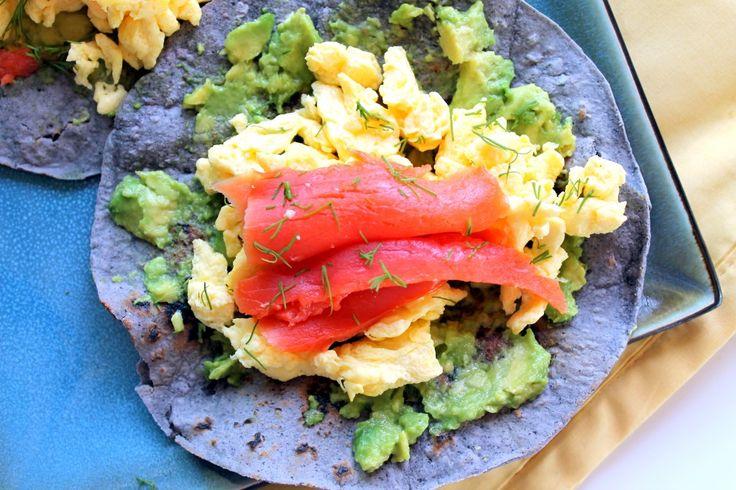 Blue Corn Breakfast Tacos with Scrambled Eggs, Smoked Salmon, Avocado ...