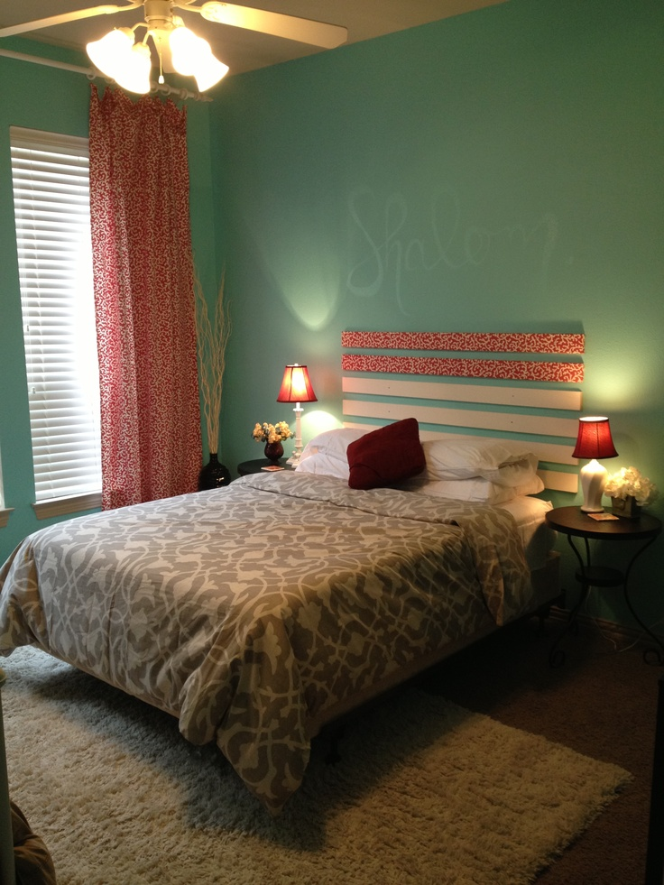 Teal Bedroom Coral Patterned Curtains My Rooms Pinterest