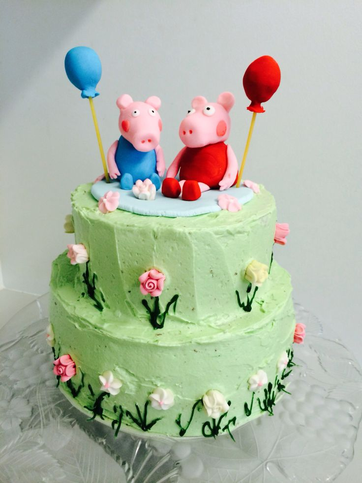 Peppa pig & George cake - chocolate cake with buttercream icing and ...